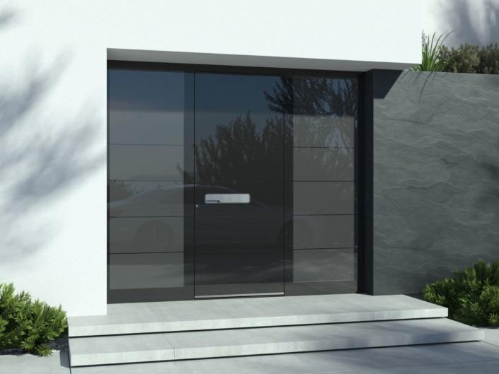 Porte d'entrée design noir