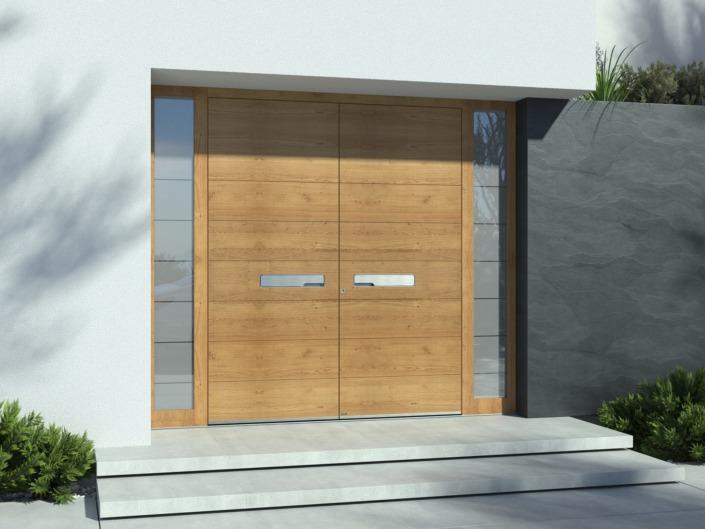 Porte d'entrée double vantaux