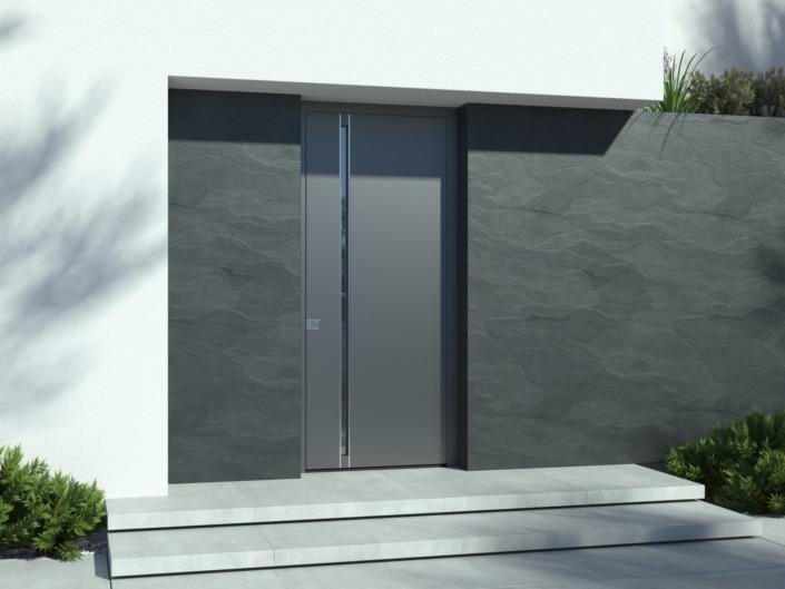 Porte d'entrée design gris anthracite