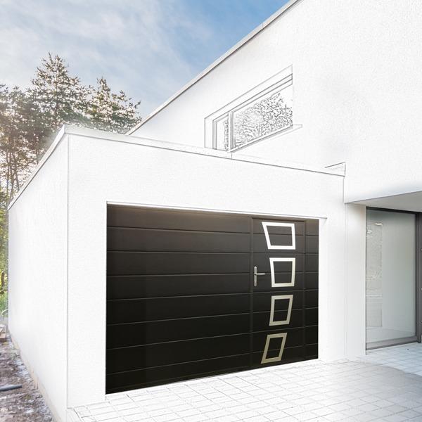 porte de garage sectionnelle noir avec porte