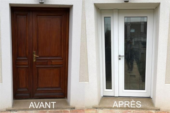 Avant après porte d'entrée