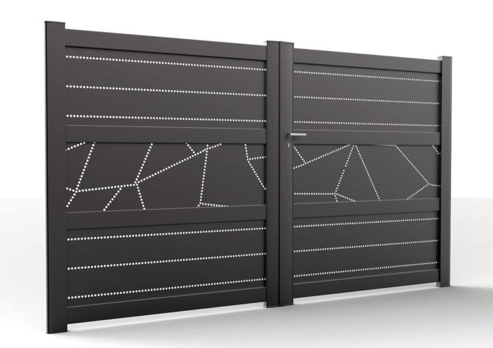 portail perforé battant noir