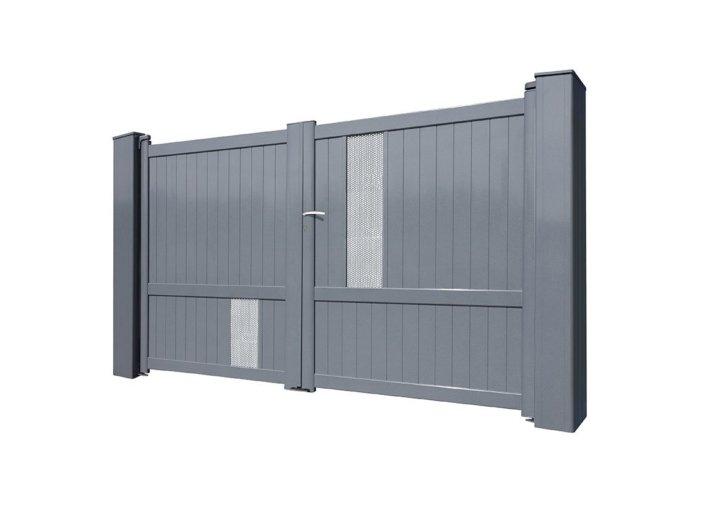 Portail battant aluminium perforé gris