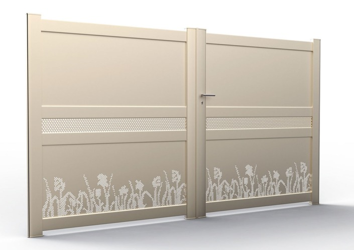 portail alu perforé beige
